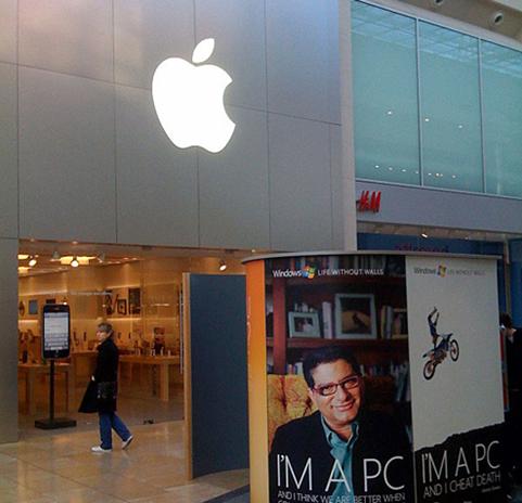 Quiosques Microsoft frente lojas apple